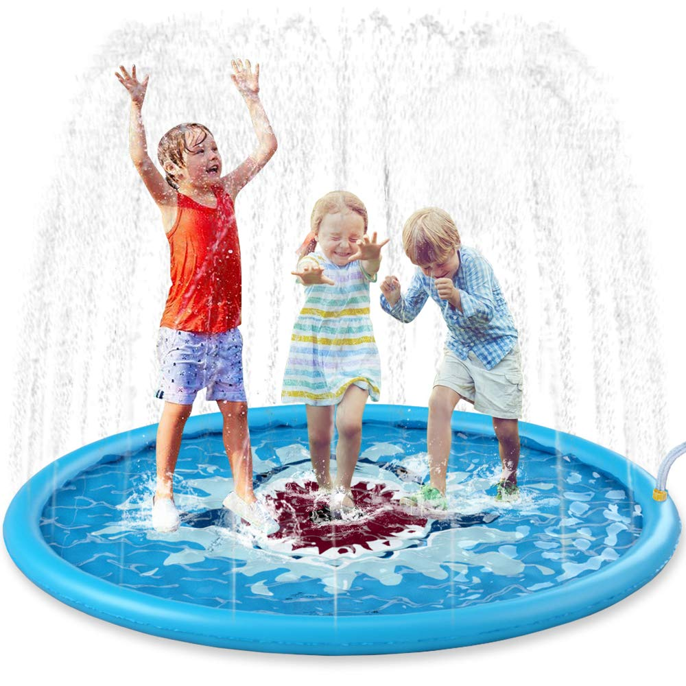 "Jasonwell Sprinkle & Splash Play Mat 68"" Sprinkler for Kids Outdoor Water Toys Inflatable Splash Pad Baby Toddler Pool Boys Girls Children Outdoor Backyard Sprinkler Toy Splash Pad"