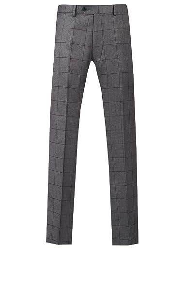 Pantalón de Traje Gris con Cuadros Burdeos Muy Entallado de Dobell ...