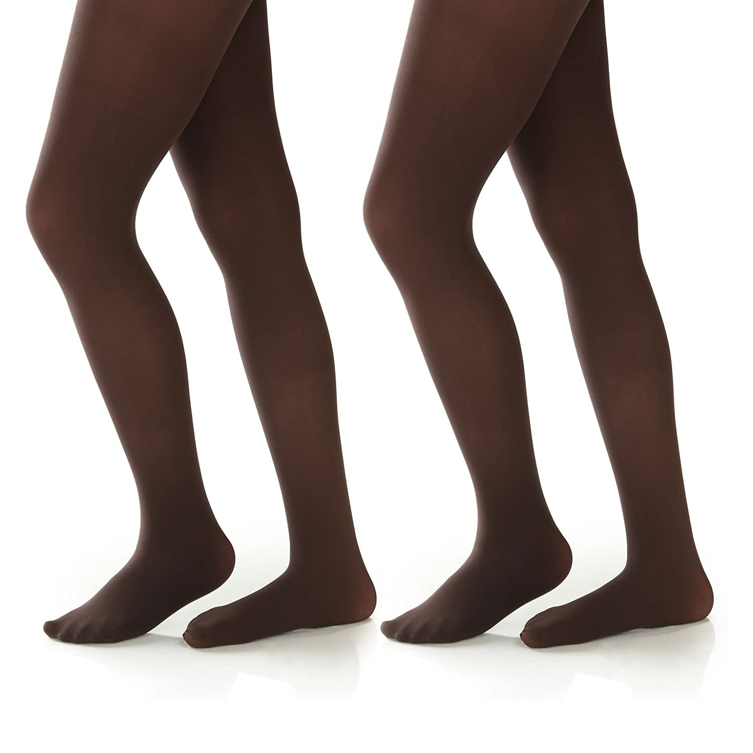 Silky Toes Girls Microfiber School Winter Opaque Footed Tights 2 Pairs