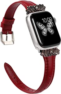 Wearlizer Deep Red Thin Leather Compatible with Apple Watch Band 38mm 40mm for iWatch SE Womens Slim Metal with Unique Decoration Strap Wristband Stylish Sleek (Silver Clasp) Series 6 5 4 3 2 1