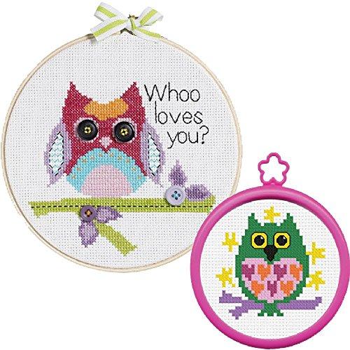 2 Item Bundle of My 1st Cross Stitch Kits: 6 inch Owl, 3 inc