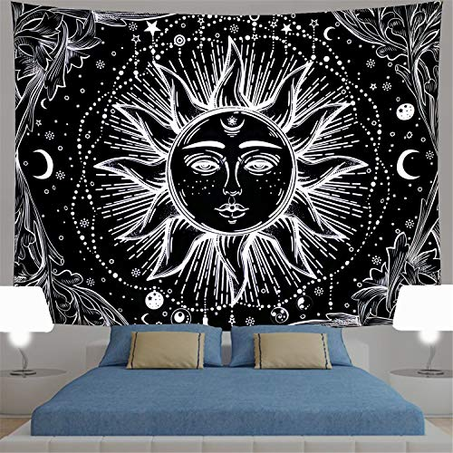 Sun Tapestry Psychedelic Burning Sun Wall Tapestry Black and White Tapestry Moon Sun with Star Tapestry Fractal Faces Bohemian Mandala Mystic Tapestry for Bedroom Living Room (Medium, Black -