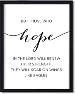 Andaz Press Unframed Black White Wall Art Decor Poster Print, Bible Verses, Isaiah 40:31: But Those who Hope in The Lord Will Renew Their Strength. They Will soar on Wings Like Eagles, 1-Pack