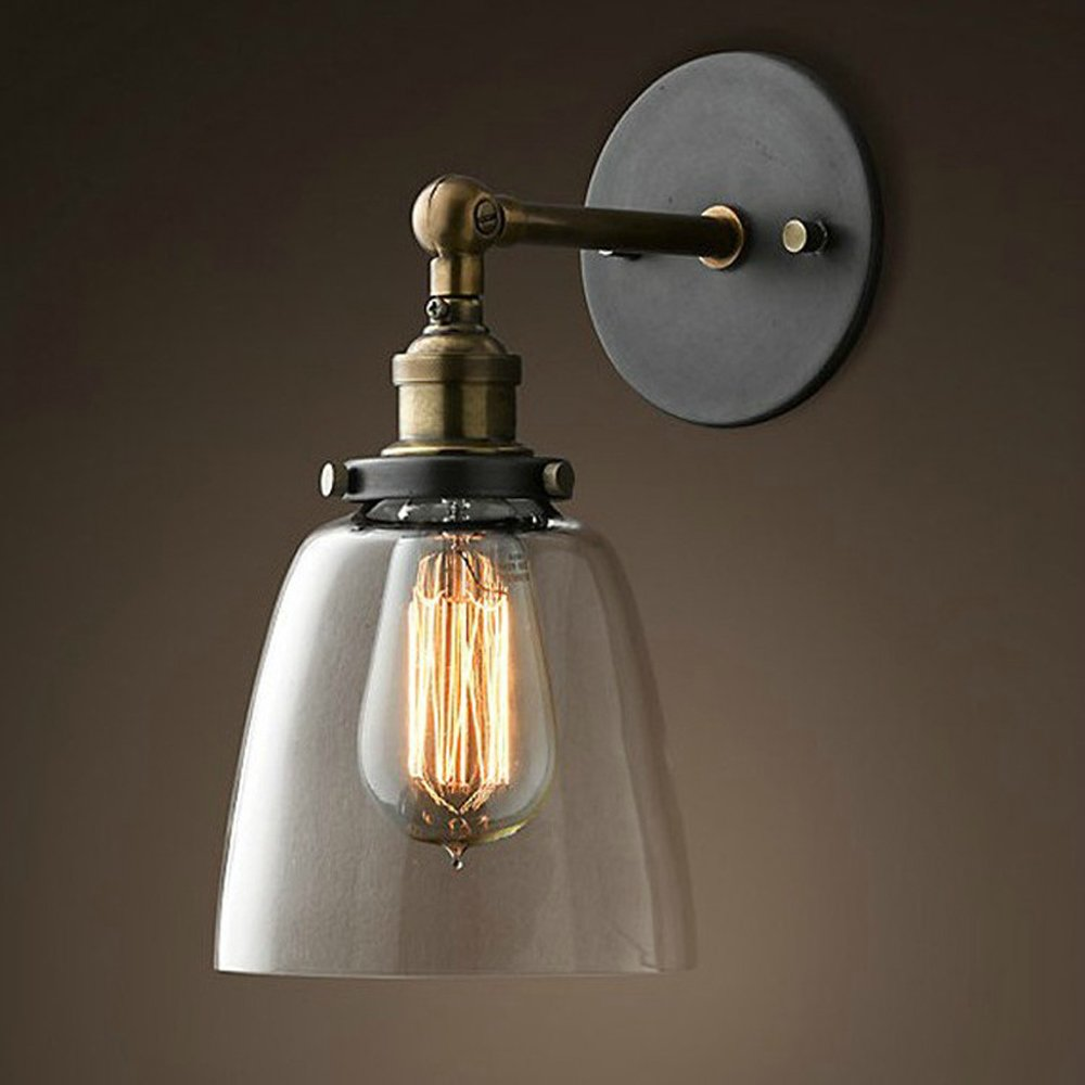 Designer RH LOFT retro style bedroom wall lamp black glass industrial warehouse wall - single Dance Festival GY126 lo11