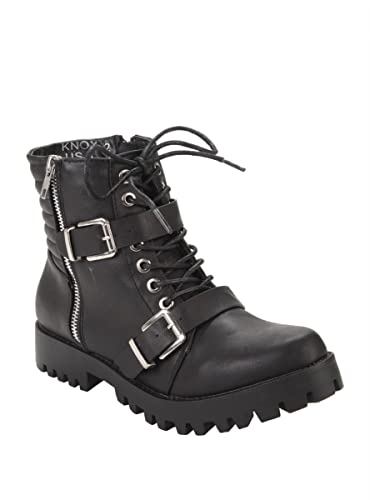 Amazon.com | Black Lace-Up & Buckle Strap Ankle Boots | Boots