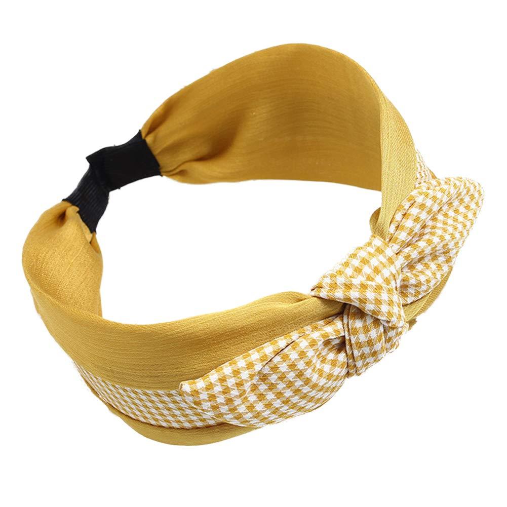 Cerchietto per capelli a turbante stile vintage Bodhi2000 con nodo a quadretti per donne e ragazze nero Nero