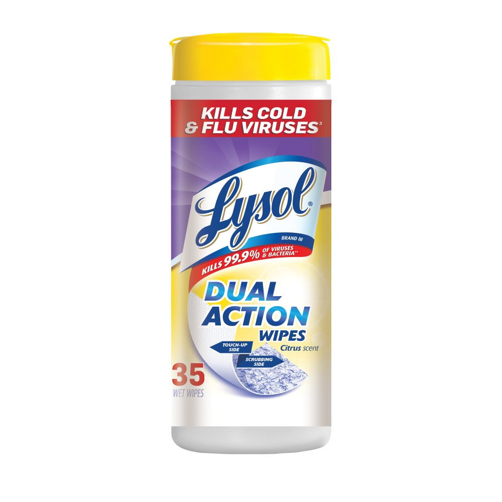 Lysol Dual Action Disinfecting Wipes w. Scrubbing Texture, 420ct (12X35ct)