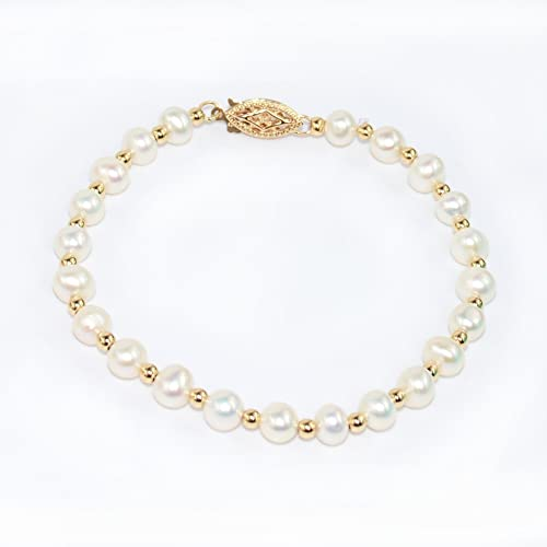 1e226ba298b Amazon.com: 14K Yellow Gold Cultured Pearl Bracelet: Handmade