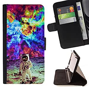 King Art - Premium PU Leather Wallet Case with Card Slots, Cash Compartment and Detachable Wrist Strap FOR Apple iPhone 6 6S Plus 5.5- Space people