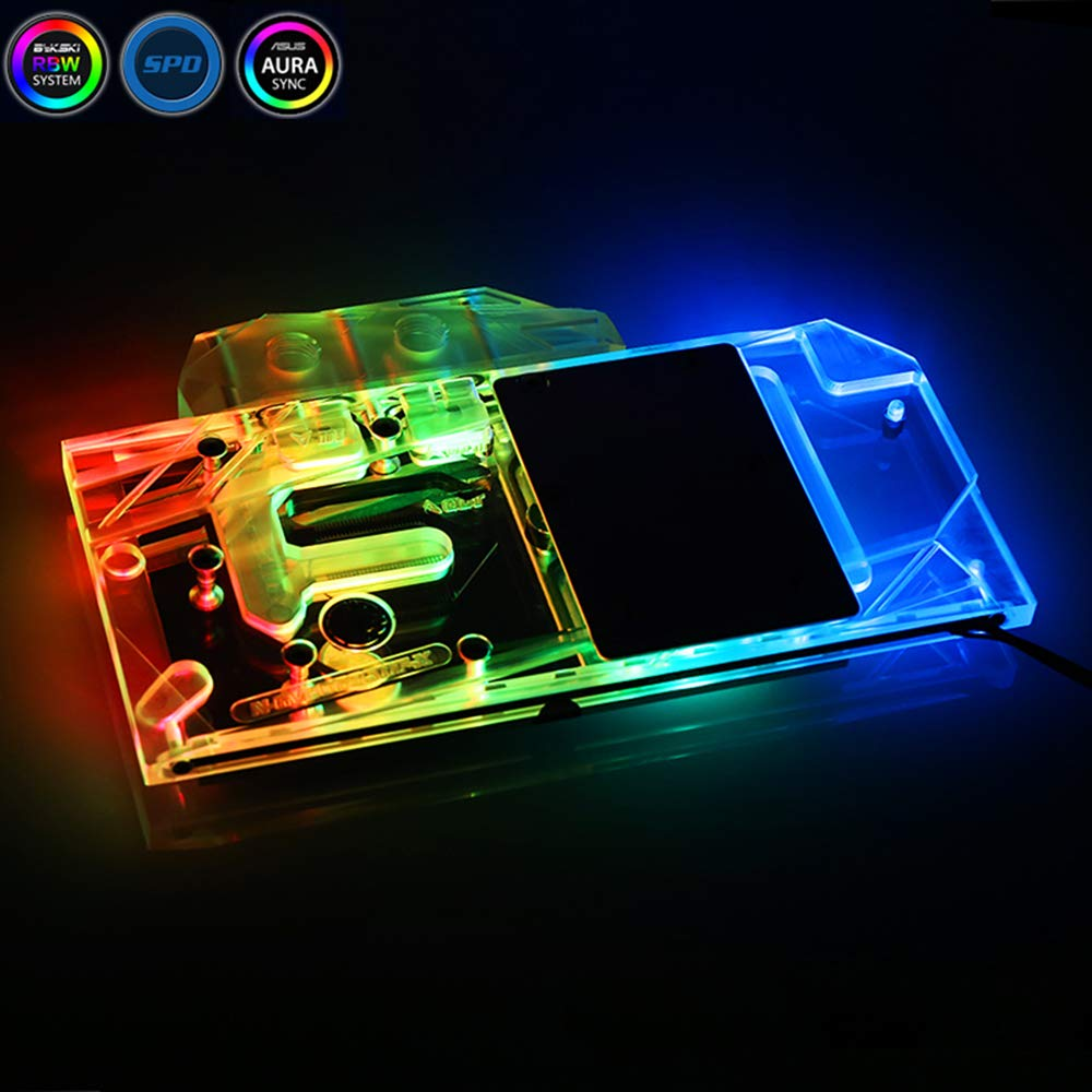 GPU Water Block Full-Cover Computer Water Liquid Cooling Graphic Card RBW LED Block for Gigabyte AORUS RTX 2080Ti 2080 2070 2060 (for Gigabyte RTX 2060 Super)