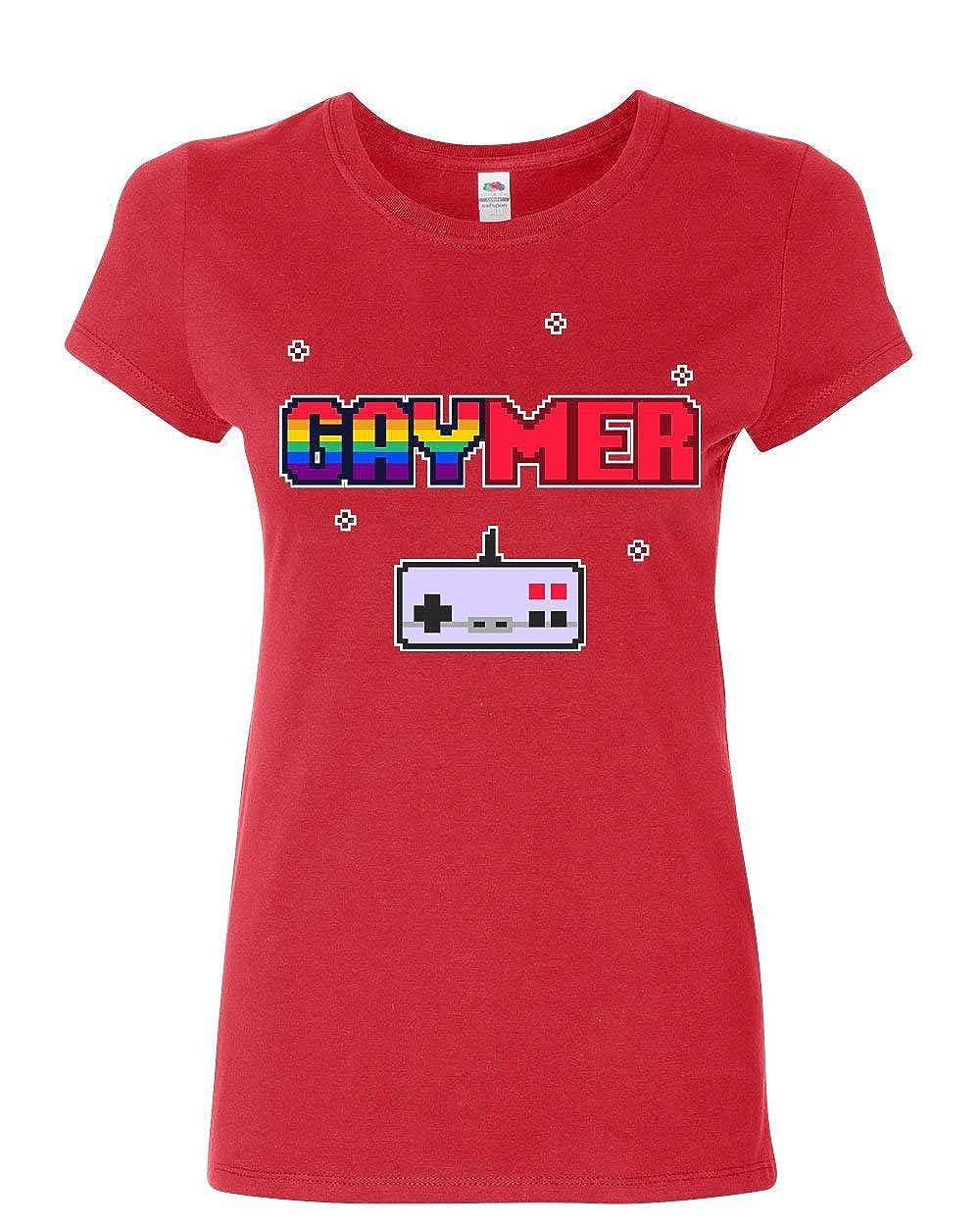 Gaymer Womens T-Shirt LGBT Queer Rainbow Gay Gaming Console Controller Shirt