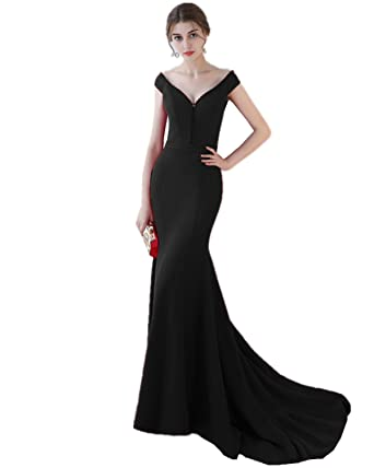 XSWPL Womens Elegant Mermaid Prom Dress Long Formal Evening Party Gowns Black US2