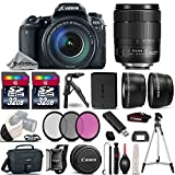 Canon EOS 77D DSLR Camera + Canon 18-135mm IS USM Lens + 2.2x Telephoto Lens + 0.43X Wide Angle Lens + 2 Of 32GB Class 10 Memory Card + UV-CPL-FLD Filters + Mini Tripod - International Version