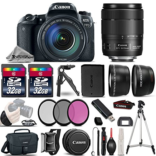 Canon EOS 77D DSLR Camera + Canon 18-135mm IS USM Lens + 2.2x Telephoto Lens + 0.43X Wide Angle Lens + 2 Of 32GB Class 10 Memory Card + UV-CPL-FLD Filters + Mini Tripod - International Version by TriStateCamera