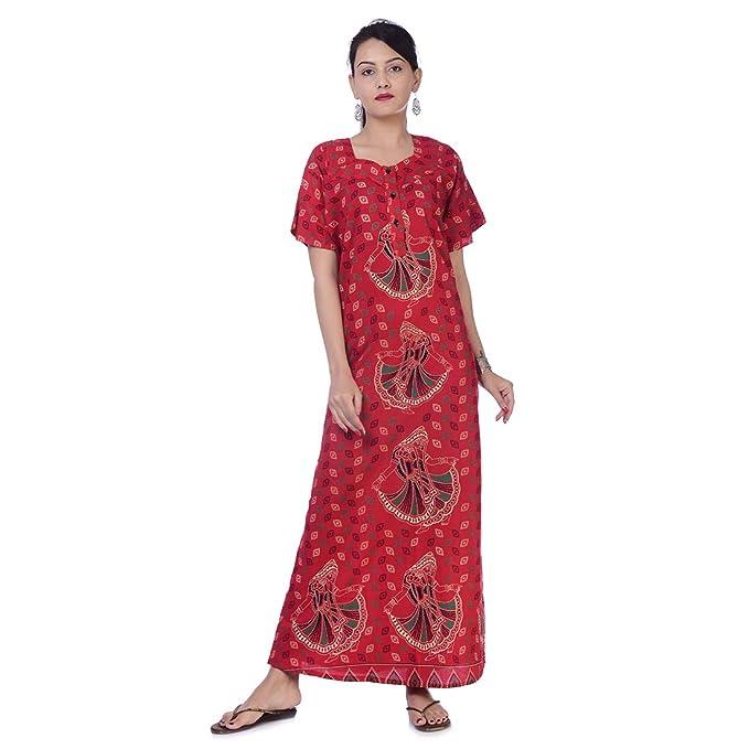 Apratim Indian Women Cotton Night Gown Bikni Cover Plus Size ...