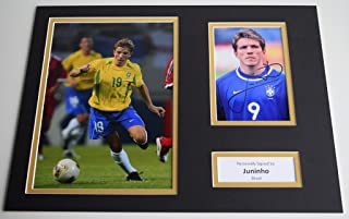 Sportagraphs Juninho SIGNED autograph 16x12 photo display Brazil AFTAL COA PERFECT GIFT