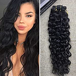 Ugeat 20inch Good Quality Natural Wavy 100% Real Human Hair Clip in African American Hair Extensions Wavy Clip in Hair Extensions Human Hair for Black Women Short Hair