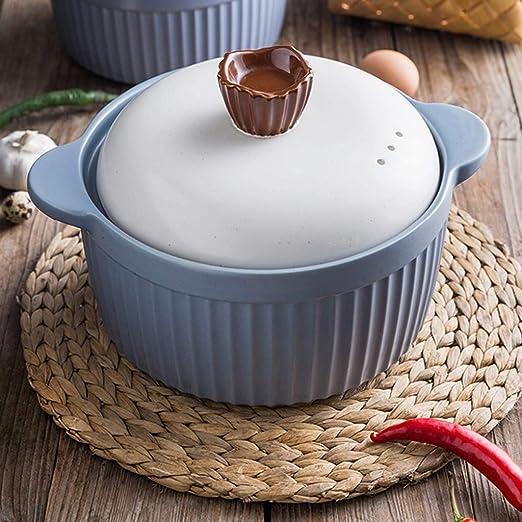 XFPINK Utensilios De Cocina Cacerola Olla Estofado CeráMica con Tapa Olla De Sopa Temperatura Alta Resistente Al Calor MultifuncióN: Amazon.es: Hogar