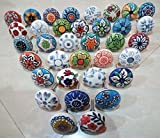 10 Pcs Mix Vintage Look Flower Ceramic Knobs Door Handle Cabinet Drawer Cupboard Pull