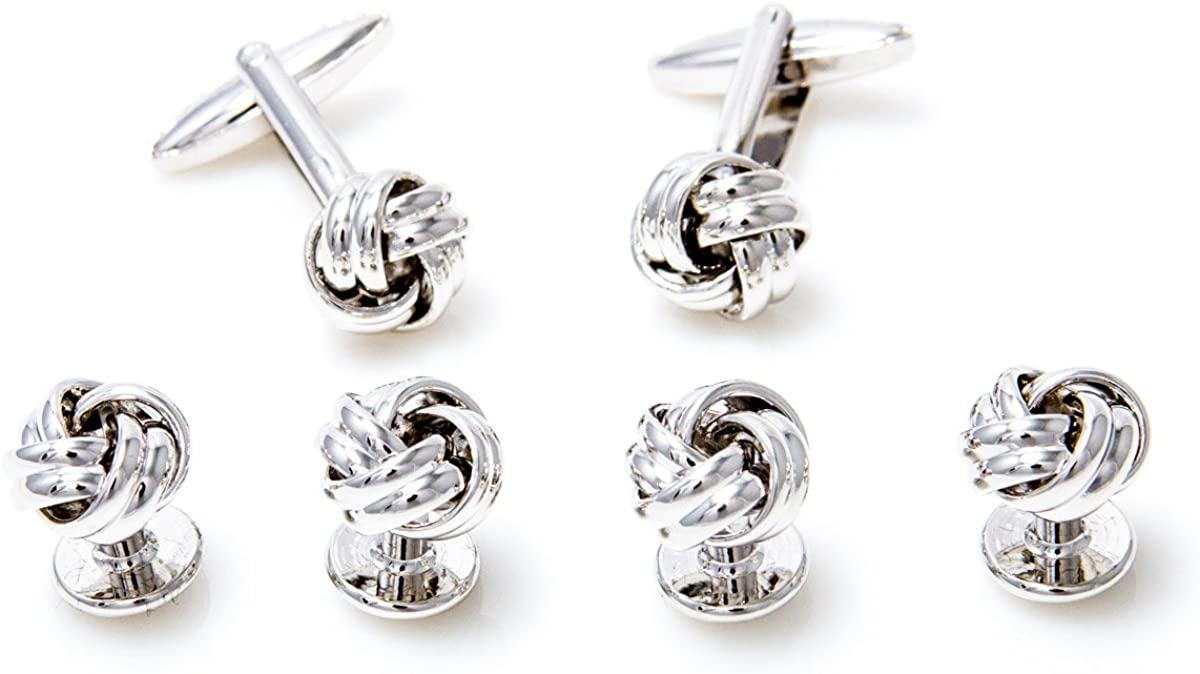 MRCUFF Knot Cufflinks and Studs Tuxedo Set in a Presentation Gift Box & Polishing Cloth