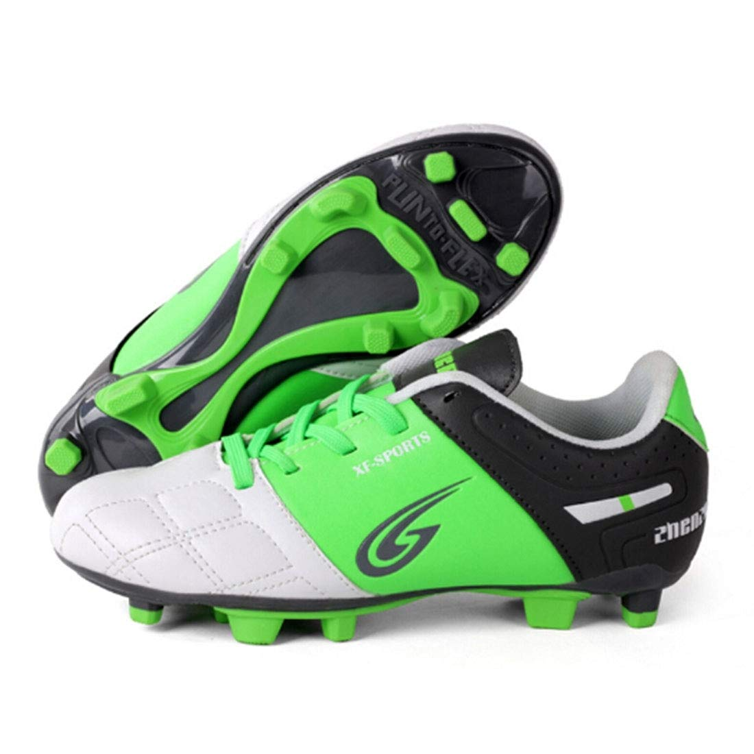 CELINEZL Le Football Brille Chaussures de Football pour Enfants avec entraîneHommest Sportif Professionnel en Plein air, Taille UE  38 (Vert)