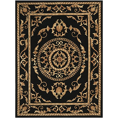 8' Naples Collection Rug (Safavieh Naples Collection NA517A Handmade Black Wool Area Rug, 8 feet by 11 feet (8' x 11'))