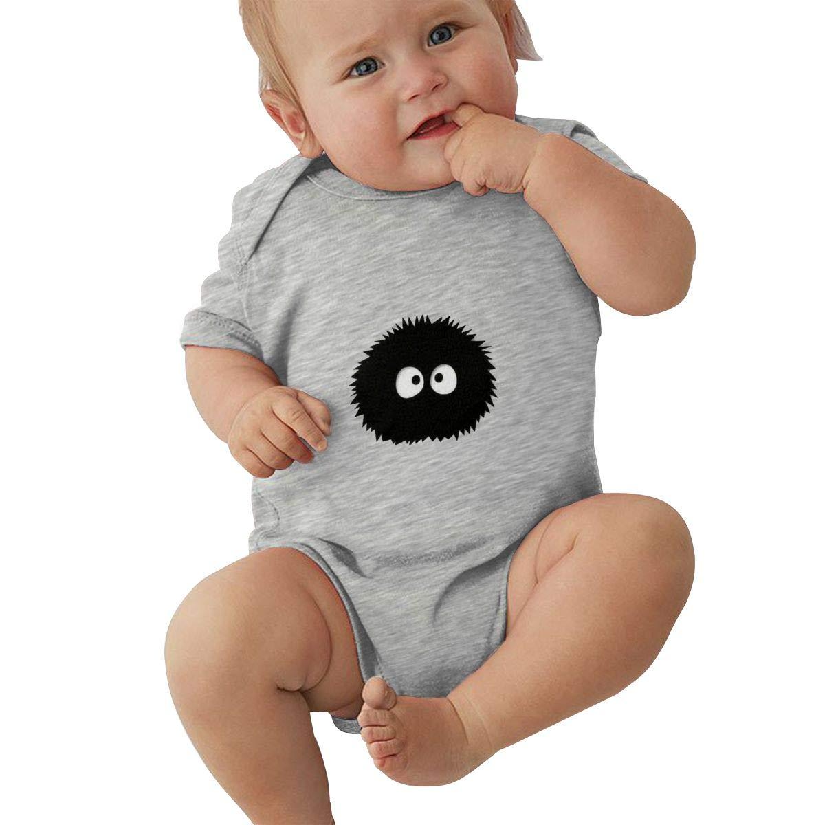 DUANIER Unisex Baby Round Neck Short-Sleeve Onesie Spirited Away Funny Jumpsuits Sleepwear Black