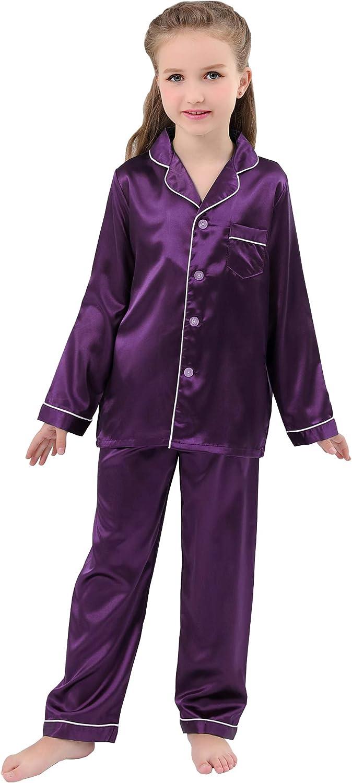 JOYTTON Kids Satin Pajamas Set PJS Long Sleeve Sleepwear