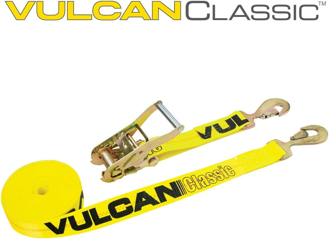 Classic Yellow VULCAN Ratchet Strap with Snap Hooks 2 Inch x 30 Foot 3,300 Pound Safe Working Load