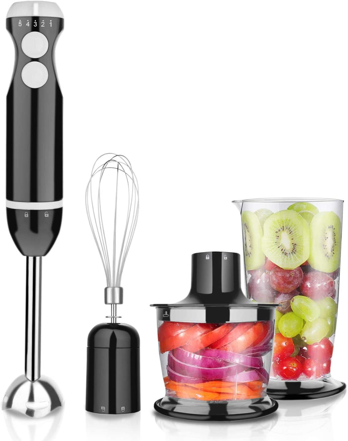 Hand Held Immersion Blender Electric Kitchen Food Mixer Stainless Steel Blades