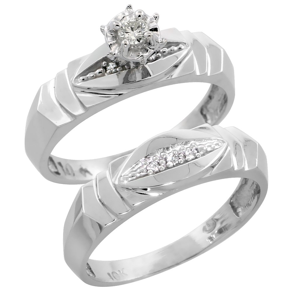 Sterling Silver Ladies 2-Piece Diamond Engagement Wedding Ring Set Rhodium finish, Size 10