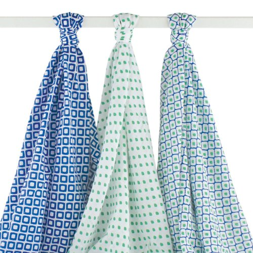 Hudson Baby Unisex Baby Muslin Swaddle Blankets, Blue Dots 3 Pack, One - Swaddle Soothing Blanket