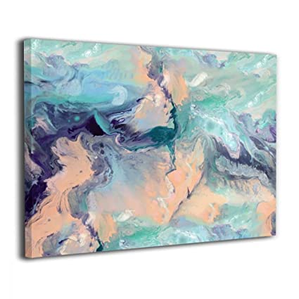 Okoart Marble Mint Aqua Peach Purple Grey Color Canvas Wall Art Giclee  Prints Pictures Artwork Paintings