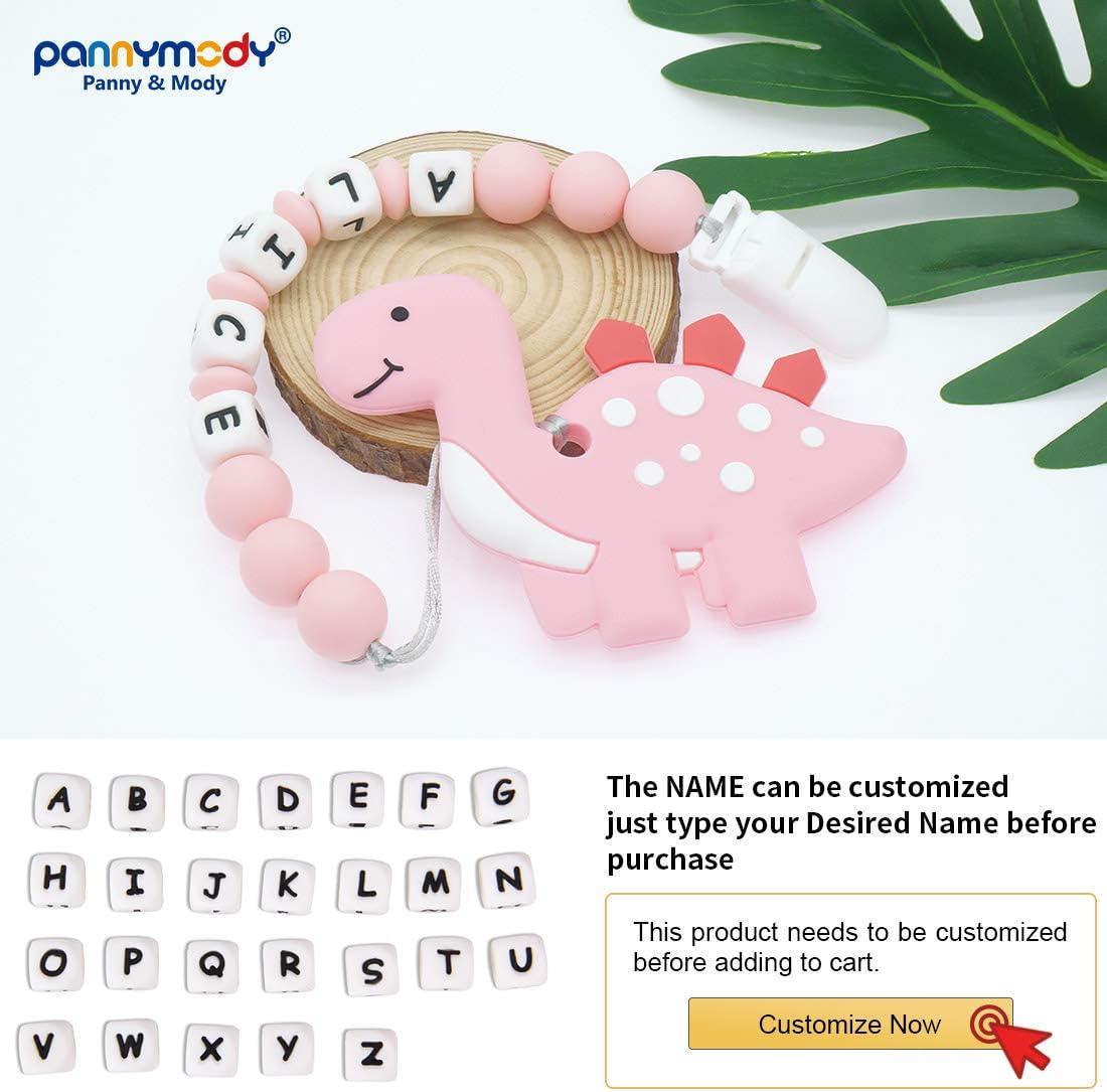 Panny /& Mody Cadena Para Chupetes Personalizado Para Bebe con Nombre Silicona Clips de Chupete Soothie Clip Dinosaurio Mordedor Sin BPA Gris