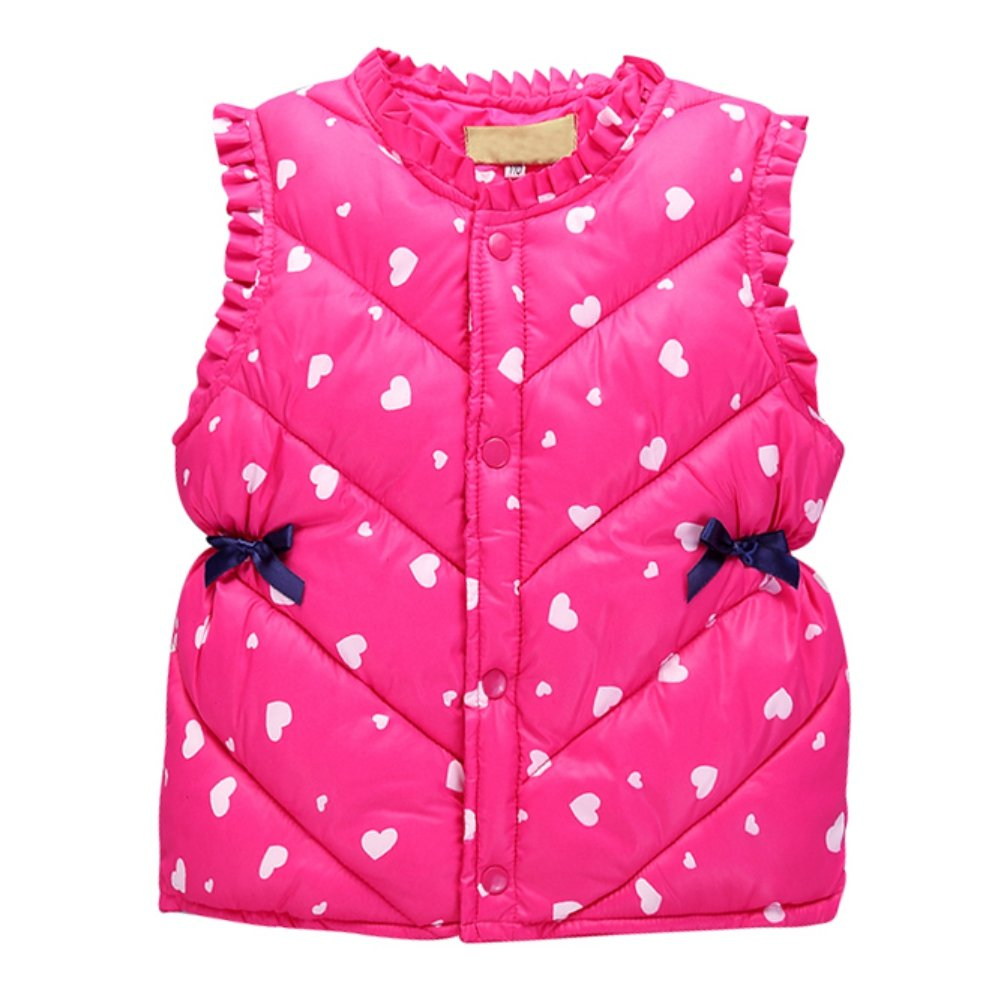 ESHOO Little Girls Heart Pattern Warm Vest Coat Kids Down Waistcoat Warm