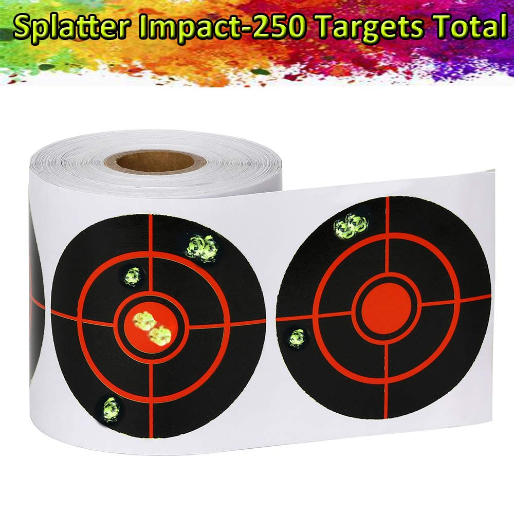GearOZ Splatter Target Stickers for Shooting-3'' Bulleye,High Visibility Reactive Fluorescent Yellow Impact,See Your Hits Instantly