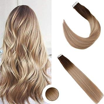 Ugeat 1845cm Ombre Glatt Remy Tape In Echthaar Extensions 100g40pcs 41822 Braun Mit Blond Brasilianich Naturliche Haarverlangerung Tape On
