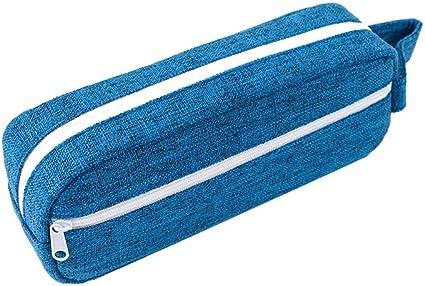 CAOLATOR. lápices Bolsa Simple Pequeño fresco Lona Estuches Lápices cremallera papelería estuche Multifuncional Estuche bonitos papelería para estudiantes-Azul 1: Amazon.es: Oficina y papelería