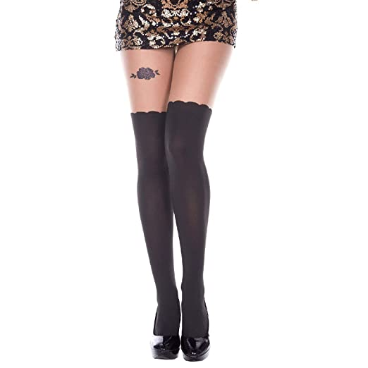 23d76a20ab4e9e MUSIC LEGS Women's Mock Curve Tights with Rose Garter Look, Black/Beige One  Size