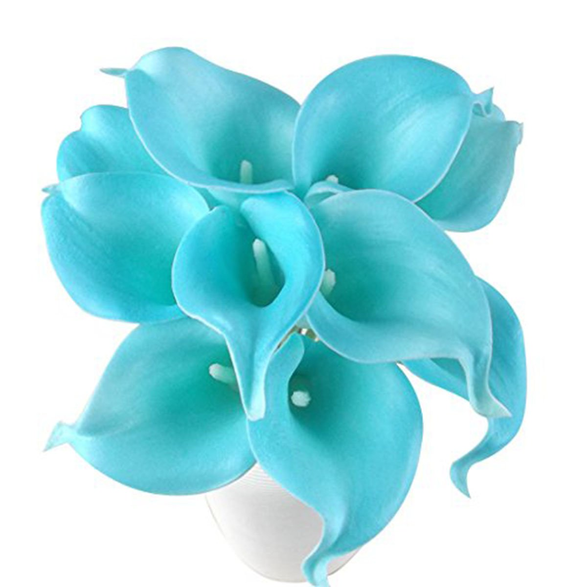 Latex Real Touch Artificial Jade Blue Calla Lily Flower Bouquet Wedding Party Home Bedroom Garden Restaurant Decoration - Bunch of 10 by UniGift