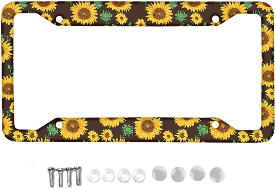 Babrukda License Plate Frame Elegant White Daisy Design Aluminum Metal with Screw Caps Rattle-Proof Weather-Proof Car License Plates Shield Holder Fit Bike Motorcycle Truck SUV Sedan Van
