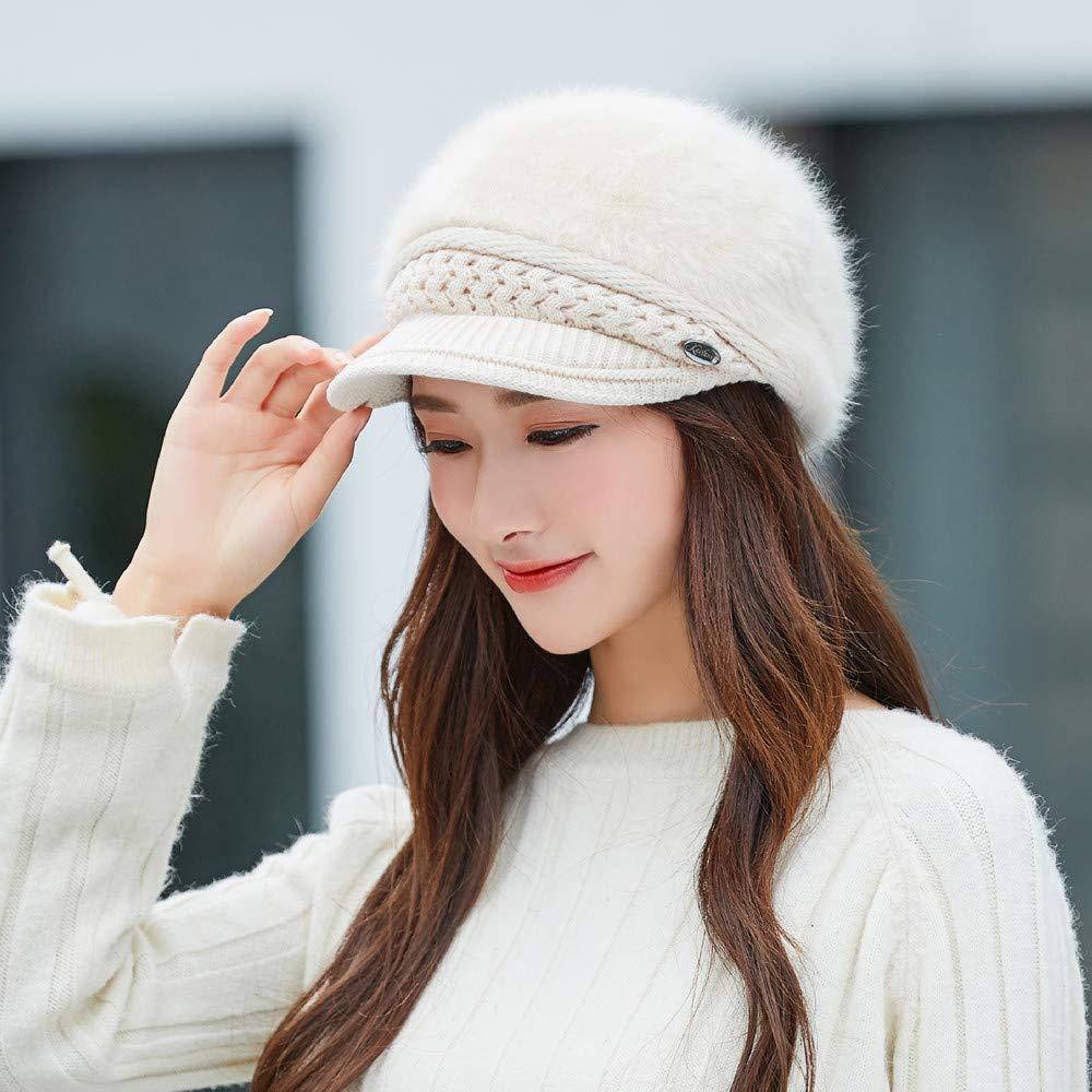 Ugood Women Winter Warm Cap Knitted Hat Beret Baggy Beanie Hat Slouch Ski Cap Beige Hat