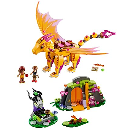 Amazon.com: LEGO Elves Fire Dragon's Lava Cave 41175 Creative Play ...