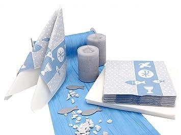 Zauberdeko Tischdeko Kommunion Konfirmation Petrol Blau Grau Weiss
