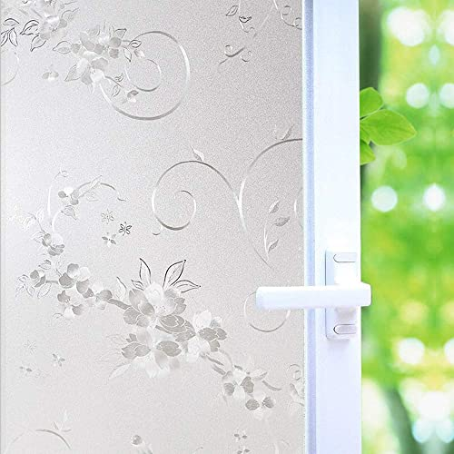 Frosted Privacy Window Film, No-Glue Stained Glass Window Decor Privacy Protection Heat Control Anti UV, Iron Flower Stained Glass Static Cling for Home Office, 35.5×118.2 inch