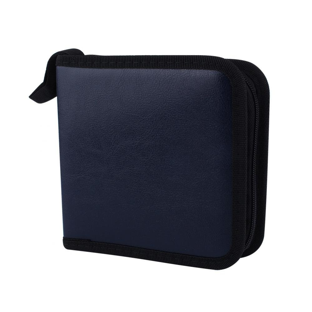 Zerone 40 Capacity Disc CD DVD PU Leather Cover Holder Media Storage Case Organizer Wallet Bag Home Office - Black