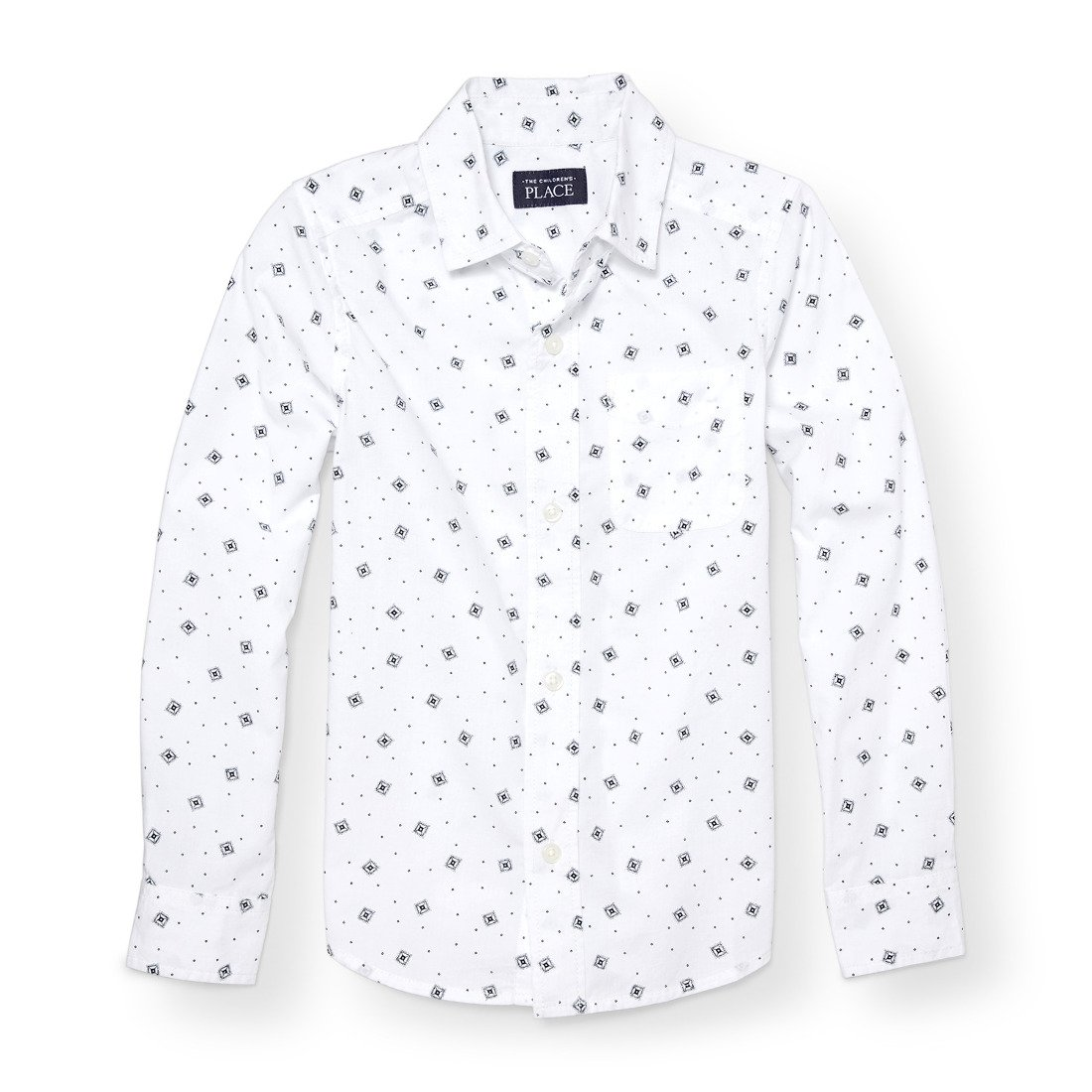 The Children's Place Big Boys' Long Sleeve Printed Woven Top, White 88254, M (7/8)