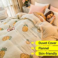 LT&NT 100% Velvet Flannel Duvet Cover,Modern Quilt Cover Print Comforter Covers Reversible Bedding with Zipper Closure 1 Piece for Kids Adults Girls Beige Twin-150x210cm(59x83inch)