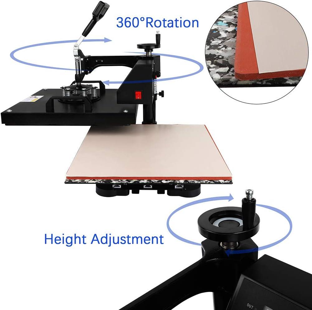 15 X 15 Pro T-Shirt Heat Press Machine Hat Cap Mug Plate 15x15 Swing-Away 360-degree Rotation Digital Multifunctional Sublimation Heat Transfer Printer Machine 5 in 1