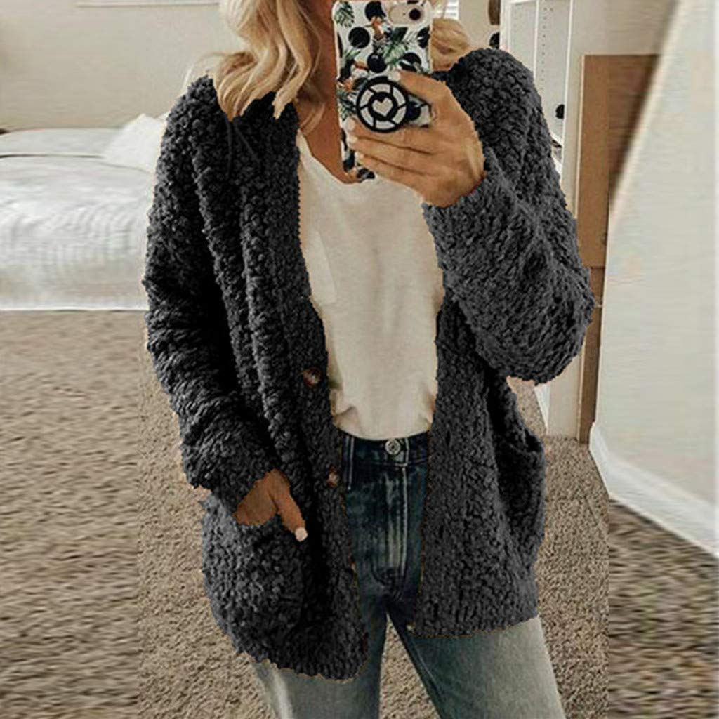 Gofodn Women Coats and Jackets Winter Warm Sale Casual Plus Size Button Solid Plush Pocket Long Sleeve Cardigan Tops Blouse